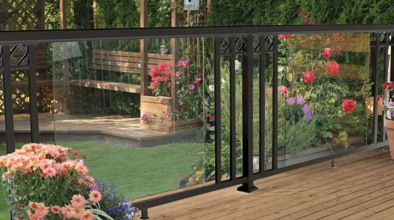 Black-Large-Glass-Panel-with-Wide-Pickets-and-Decorative-Spacers-Railing-NEW